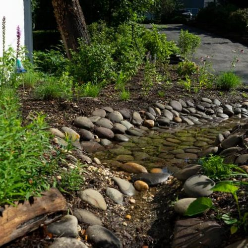 Stormwater rarely exceeds the capacity of the infiltration pit.